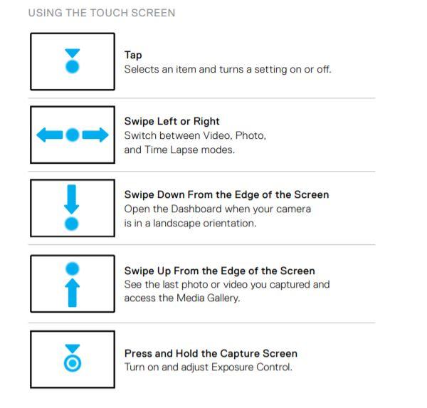 GoPro touchscreen controls