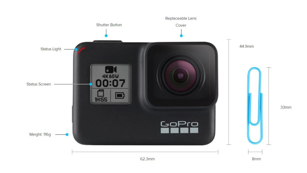 GoPro Hero7 Black dimensions front