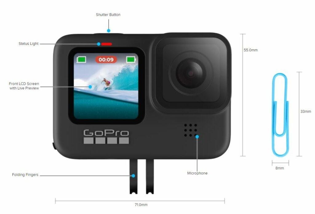 GoPro Hero 9 Black dimensions vs DJI osmo action